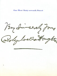 CAROLYN WELLS - AUTOGRAPH SENTIMENT SIGNED