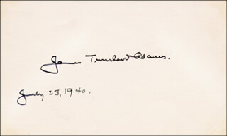 Autographs: JAMES TRUSLOW ADAMS - SIGNATURE(S) 07/23/1940