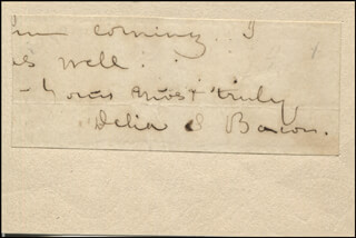 DELIA SALTER BACON - AUTOGRAPH FRAGMENT SIGNED