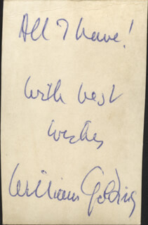 Autographs: SIR WILLIAM GOLDING - PHOTOGRAPH SIGNED