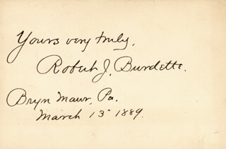 Autographs: ROBERT J. BURDETTE - AUTOGRAPH SENTIMENT SIGNED 03/13/1889