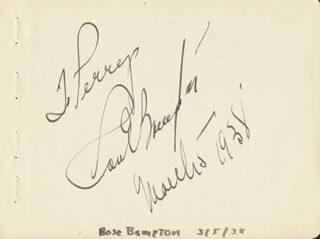 ROSE BAMPTON - INSCRIBED SIGNATURE 03/05/1938