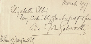 JOHN GALSWORTHY - AUTOGRAPH NOTE SIGNED 3/1914