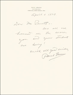 PAUL GREEN - AUTOGRAPH LETTER SIGNED 04/06/1973