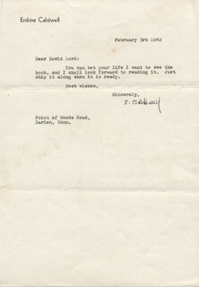 ERSKINE CALDWELL - TYPED LETTER SIGNED 02/03/1942