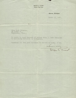 EDGAR A. GUEST - TYPED LETTER SIGNED 03/16/1921