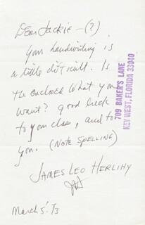 JAMES LEO HERLIHY - AUTOGRAPH LETTER DOUBLE SIGNED 03/05/1973