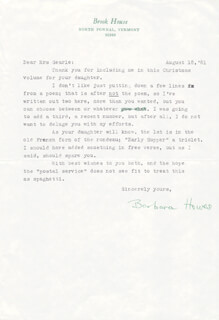 BARBARA HOWES - TYPED LETTER SIGNED 08/18/1981