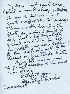 AGNES SLIGH TURNBULL - AUTOGRAPH LETTER SIGNED