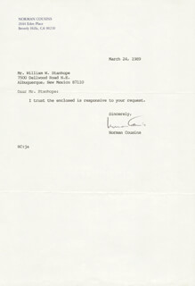 NORMAN COUSINS - TYPED LETTER SIGNED 03/24/1989