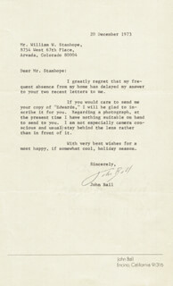 JOHN BALL JR. - TYPED LETTER SIGNED 12/20/1973