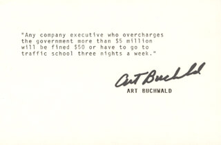 ART BUCHWALD - TYPED QUOTATION SIGNED