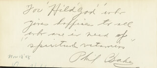 PHIL BAKER - AUTOGRAPH NOTE SIGNED 11/18/1948