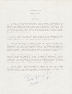 Autographs: ROBIN COOK - TYPESCRIPT SIGNED 11/05/1991
