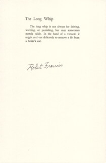 ROBERT FRANCIS - BOOK PAGE SIGNED