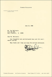 MALCOLM FORBES - TYPED LETTER SIGNED 06/13/1988