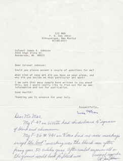 COLONEL JAMES K. JOHNSON - AUTOGRAPH LETTER SIGNED 04/02/1991