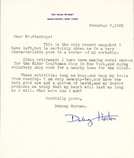 DABNEY HORTON - TYPED LETTER SIGNED 11/08/1963
