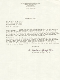 B. MICHAEL (BOLESLAW MICHAL MIKE) GLADYCH - TYPED LETTER SIGNED 03/29/1991
