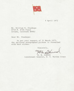 MAJOR GENERAL HUGH M. ELWOOD - TYPED LETTER SIGNED 04/04/1972