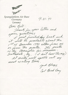 COLONEL BUD (GEORGE E.) DAY - AUTOGRAPH LETTER SIGNED 09/21/1990