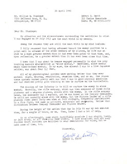 COLONEL ROBERT S. SCOTT - TYPED LETTER SIGNED 04/26/1990