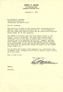 MAJOR ROBERT W. MOORE - TYPED LETTER SIGNED 09/07/1990