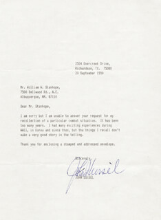 COLONEL JOHN S. LOISEL - TYPED LETTER SIGNED 09/20/1990