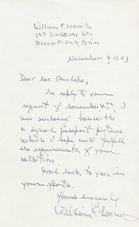 WILLIAM F. LOOMIS - AUTOGRAPH LETTER SIGNED 11/09/1963