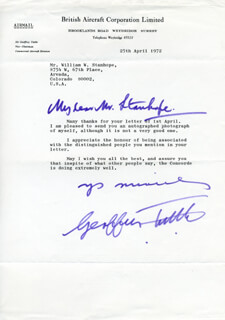 AIR MARSHAL GEOFFREY TUTTLE - TYPED LETTER SIGNED 04/25/1972