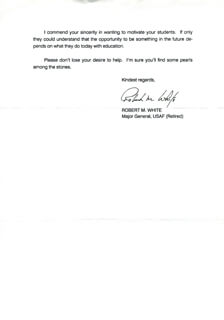MAJOR GENERAL ROBERT MICHAEL WHITE - TYPED LETTER SIGNED 07/26/1991