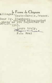 Autographs: PIERRE L. BOAL - TYPED NOTE SIGNED 10/28/1963