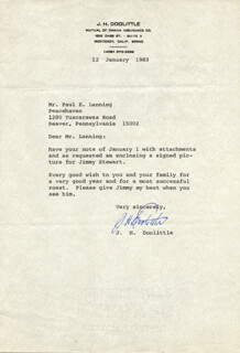 BRIGADIER GENERAL JAMES H. JIMMY DOOLITTLE - TYPED LETTER SIGNED 01/12/1983