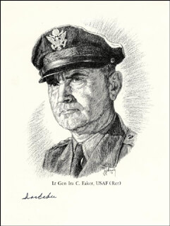 Autographs: GENERAL IRA C. EAKER - ILLUSTRATION SIGNED