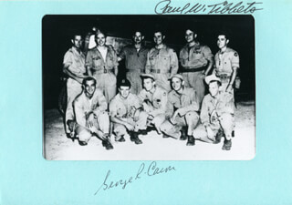 ENOLA GAY CREW - PHOTOGRAPH MOUNT SIGNED CO-SIGNED BY: ENOLA GAY CREW (GEORGE R. CARON), ENOLA GAY CREW (PAUL W. TIBBETS)