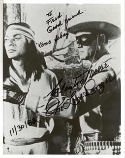 CLAYTON THE LONE RANGER MOORE - AUTOGRAPHED SIGNED PHOTOGRAPH 11/30/1982
