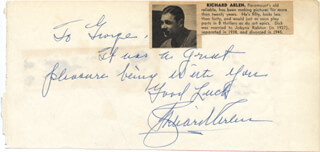 Autographs: RICHARD ARLEN - AUTOGRAPH NOTE SIGNED