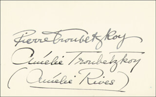 PRINCESS AMELIE RIVES (CHANLER) TROUBETZKOY - AUTOGRAPH CO-SIGNED BY: PRINCE PIERRE TROUBETZKOY