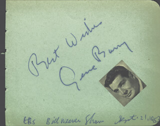 GENE BARRY - AUTOGRAPH SENTIMENT SIGNED 09/21/1953