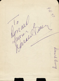 DON RED BARRY - AUTOGRAPH NOTE SIGNED CIRCA 1947