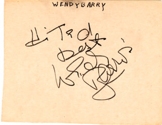 WENDY BARRIE - AUTOGRAPH NOTE SIGNED
