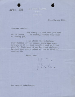 VIVIEN LEIGH - TYPED LETTER SIGNED 03/31/1959