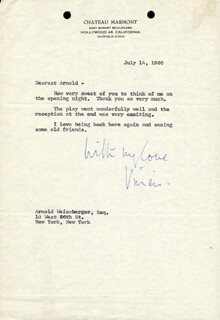 VIVIEN LEIGH - TYPED LETTER SIGNED 07/18/1960