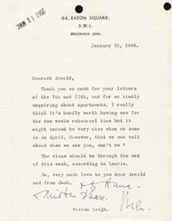 VIVIEN LEIGH - TYPED LETTER SIGNED 01/18/1966