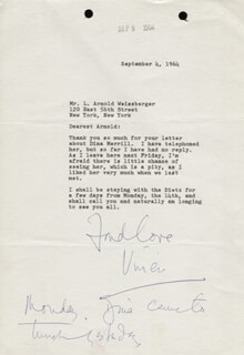 VIVIEN LEIGH - TYPED LETTER SIGNED 09/04/1964