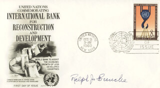 RALPH J. BUNCHE - FIRST DAY COVER SIGNED