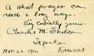 Autographs: CHARLES M. SHELDON - AUTOGRAPH QUOTATION SIGNED 11/26/1912