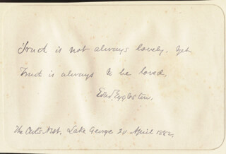 EDWARD EGGLESTON - AUTOGRAPH QUOTATION SIGNED 04/20/1882