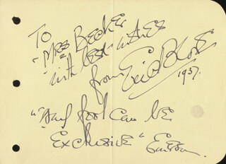 ERIC BLORE - AUTOGRAPH QUOTATIONS DOUBLE SIGNED 1937  - HFSID 19063