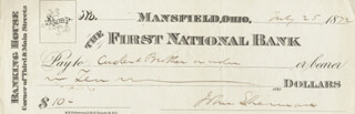 JOHN SHERMAN - AUTOGRAPHED SIGNED CHECK 07/25/1872